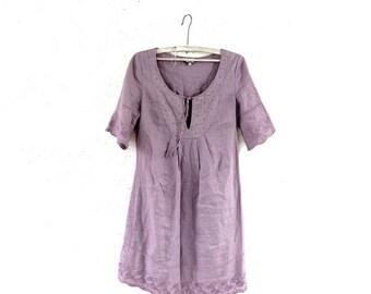 SALE SALE SALE Purple Linen embroidered dress Vintage linen summer dress Pure linen lilac mini dress Lace detail Dress Size Xs S
