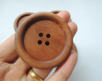 "4Pcs   Large 50mm(2"") Light Brown Wood button 4  holes( NW160)"