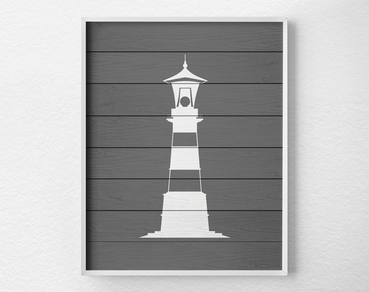 Nautical lighthouse art lighthouse decor nautical bathroom for Bathroom decor lighthouse