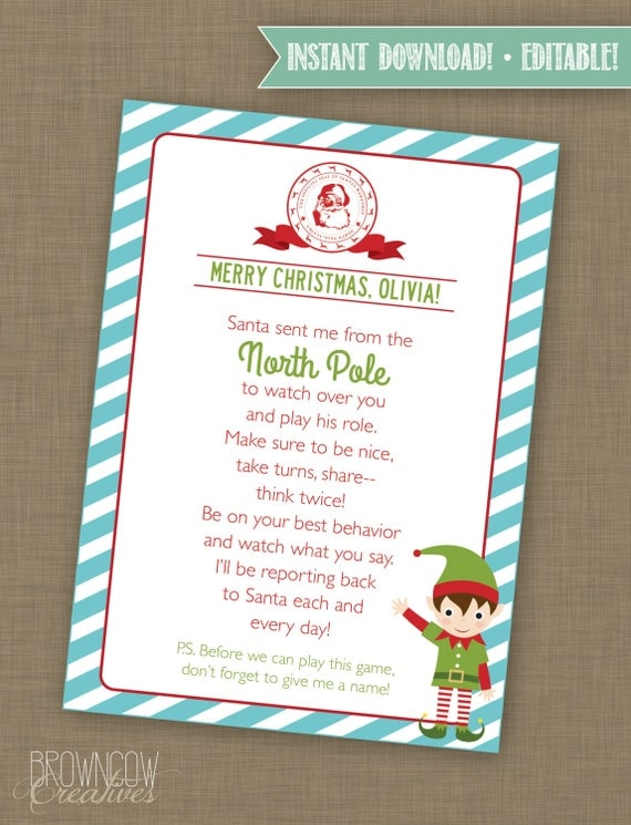 Editable Welcome Elf Letter & Envelope