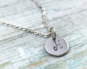 Stainless Personalized Small Disc Necklace, Bridesmaid Initial Necklace, Hand Stamped Circle, Custom Initial Necklace, Couples Initials