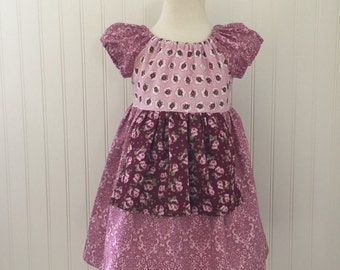 Girls apron dress Girls peasant dress Girls fall dress Girls size 4t Ready to ship