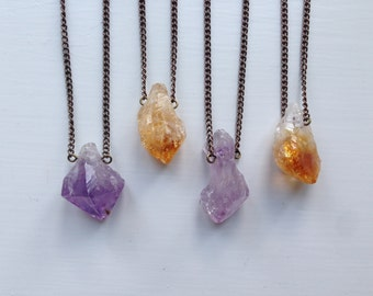 Amethyst or Citrine Crystal Point Necklace