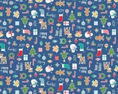 Cozy Christmas, Lori Holt, Main in Navy Blue, Riley Blake - Reindeer, Snowman, Stockings - Cotton Fabric - Fat Quarter, Half, By The Yard