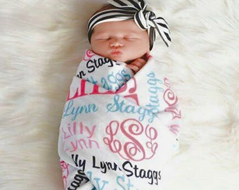 Baby Blanket, Personalized Baby Blanket, Monogrammed Baby Blanket, Baby Shower Gift, Birth Announcement