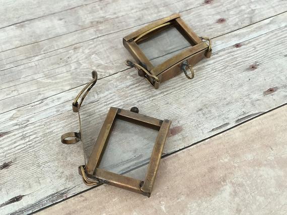 Small hinged square bronze glass frame pendant memory box like this item aloadofball Gallery