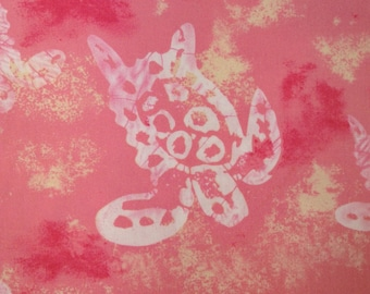 "One 29"" Piece of Fabric Material - Sea Turtle  Pink"