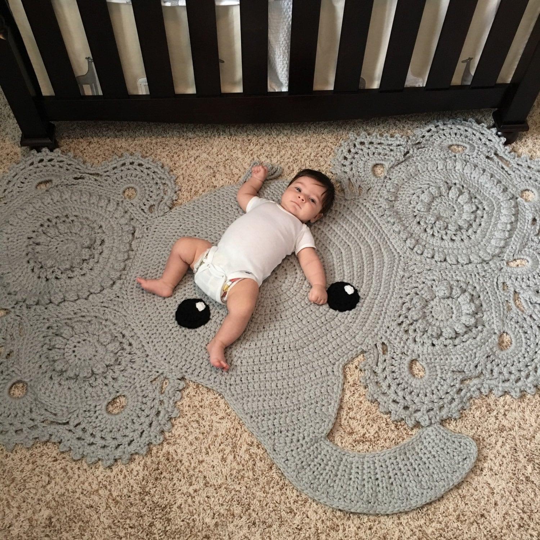 Elephant Rug Huge Crochet Floor Covering Baby Nursery Home