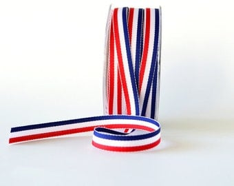 3/8 Inch Red White and Blue Striped Ribbon