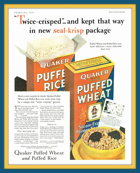 Items Similar To 1932 Quaker Puffed Wheat And Puffed Rice