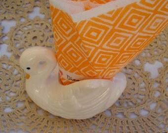 Vintage Porcelain Napkin Holder Swan/ Vintage White Bird/Vintage Swan Nicknack/1970s