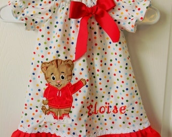 Daniel Tiger party dress, Daniel Tiger birthday dress, peasant style, toddler, girl,polka dots, back to school, party or any occasion.