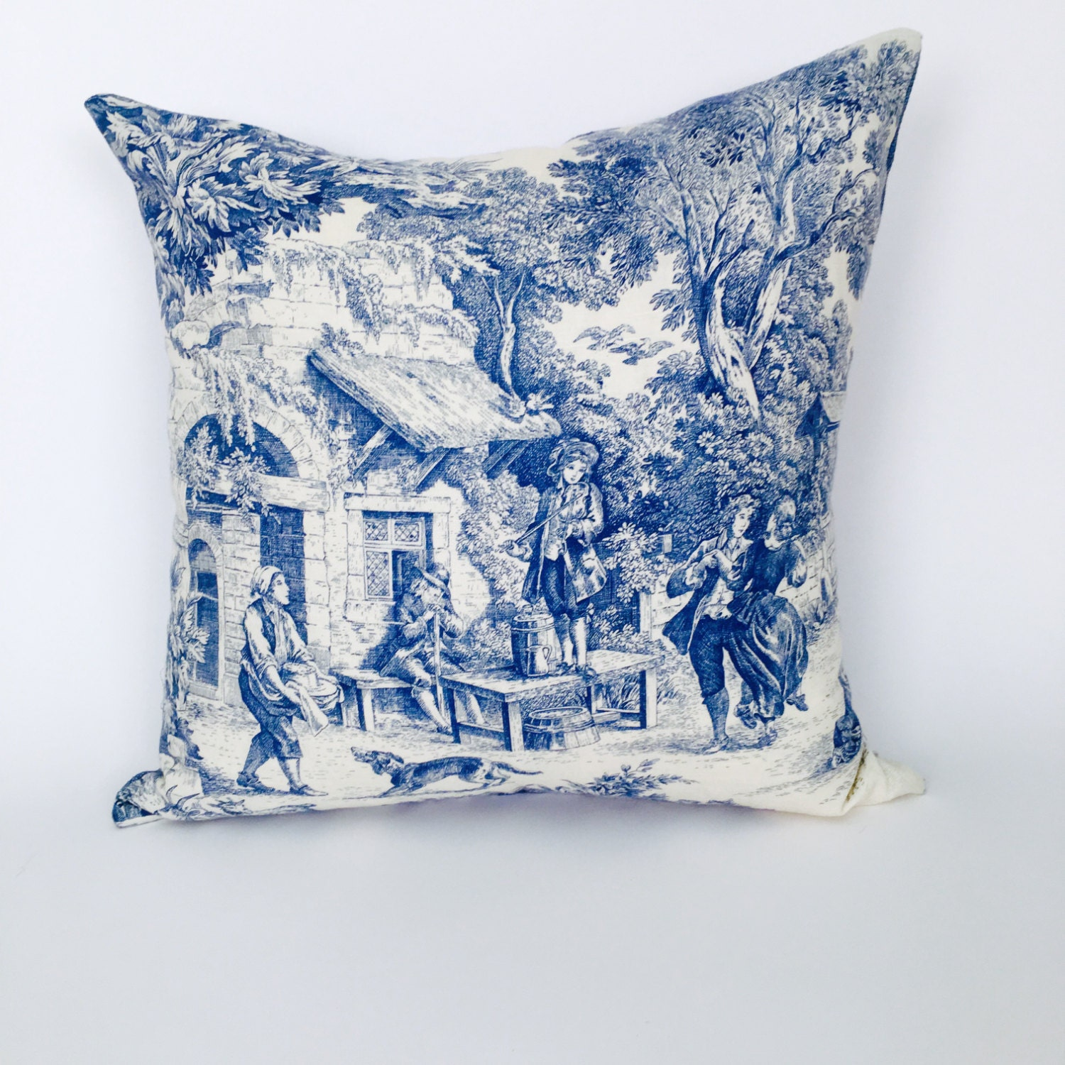 blue toile decorative throw pillow inserts included p 2 116. Black Bedroom Furniture Sets. Home Design Ideas
