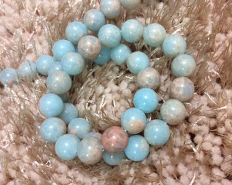 3 Full Strands 8mm Aqua Terra Jasper Beads,Round Jasper Beads