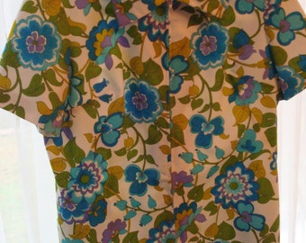 Vintage Wild-Flower Pattern Korell Knits Zip Front Top - Circa 1970's - Great Vintage Condition!!