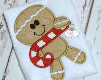 Boy Gingerbread with Candy Cane Shirt or Bodysuit, Boy Christmas Shirt, Christmas Shirt, Gingerbread boy shirt