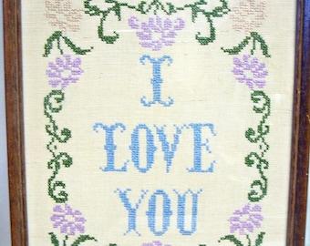 I LOVE YOU Framed Cross Stitch Sampler
