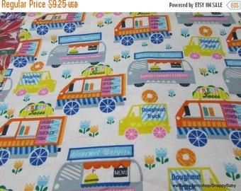 Back to School SALE Flannel Fabric - Food Trucks - 1 yard - 100% Cotton Flannel