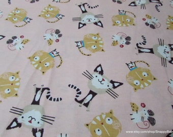 Flannel Fabric - Cats and Mouse on Pink - 1 yard - 100 Percent Cotton Flannel