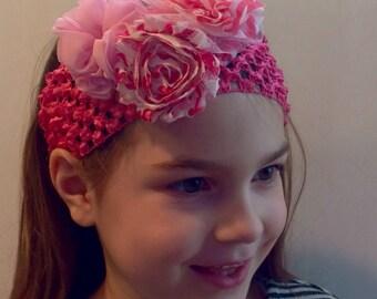 Pink flowered headband