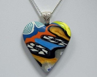 Polymer Clay Heart in Abstract Pattern. Heart Pendant. Heart Necklace.