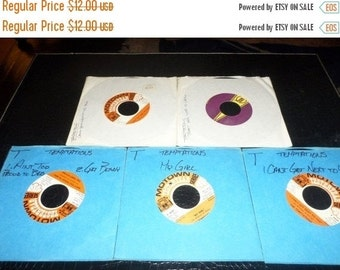 Save 30% Today Collection of Five Vintage Temptations 45 RPM Records Excellent Condition