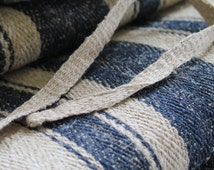 "Antik ""ca. 1900/10 German gray dark peasant grain burlap bag blue stripes"" unused undamaged original! herringbone...Grainsack Grain Sack"