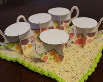 Purple Polkadot Teacup Set Cupcake Stands (5 pieces)