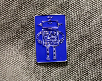 Robot Enamel Pin - Free UK Postage - Copper or Silver  | Limited Edition Badge | Lapel Pin Badge | Enamel pin
