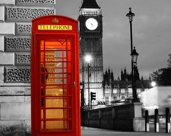 London Icons Big Ben Red Phonebox Print 18x12 inch Westminster Art Photo