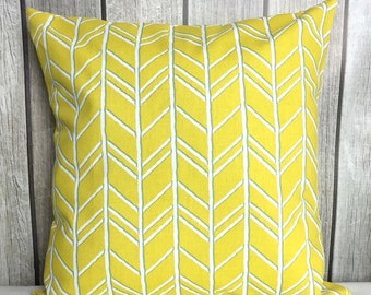 Throw Pillow. Yellow Pillow. Pillow Cover. Decorative Pillow. Yellow and White Pillow
