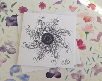 Jellyfish, Asymmetrical Star, Hand Drawn, FeFiFo, Illustration, Digitally Printed, Any Occasion, Card Blank inside, Black & White