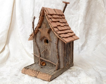 Rustic, Primitive Bird House made from reclaimed barn lumber