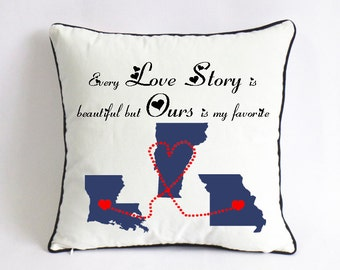 long distance love story pillow case-18x18 couple cushion cover-birthday gift for her