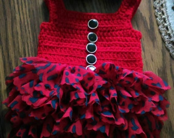 """Red and black ruffled """"onsie"""" set, this one is adorable"""