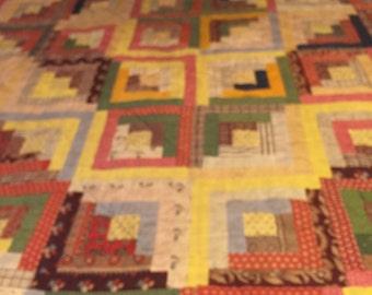 Antique Log Cabin Quilt-Antique Quilt-Vintage Quilt