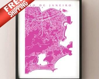 Rio De Janeiro Map Print - Brazil Art Poster