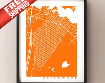 Beachwood, New Jersey Map Print