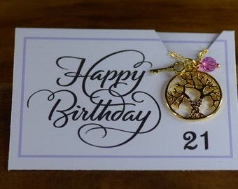 21st Birthday Birthstone Necklace, gold filled, tree of life, key necklace, birthstone, gift for her, 21st.  Australian seller.