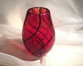 Hand Blown Glass Vase with Spirals.  Vivid Red Glass Art Vase.