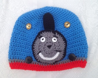 Thomas the Train Hat -  crochet Kids Thomas Hat Baby Newborn Toddler Adult