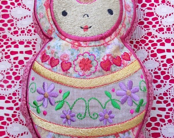 Doll~Plushie~Stuffed~Rag~Doll~Toy Baby Shower Gift~Child~Kids Machine Embroidered on Reclaimed Fabrics