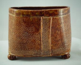 Warm Brown Burlap Textured Planter/Container