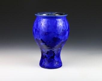 Crystalline Cobalt Blue on Blue Vase #8959