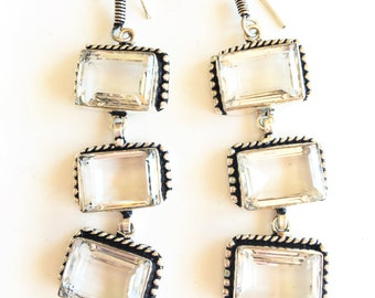 White Topaz Sterling Silver Long Dangle Earrings