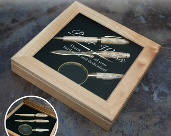 Personalized Pen & Letter Opener with Magnifying Glass Set with Font Selection and Personalization Options (Presentation Box Included)