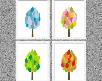 "Four Seasons Trees, Kids Wall Decor,Nursery Wall Print Kids Room Art Four Seasons Art Spring Summer Winter Fall Autumn Set of4Prints8"" x 10"""