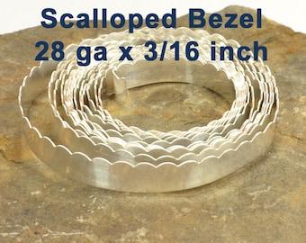 "28ga x 3/16"" Scalloped Bezel - Fine Silver - Choose Your Length"