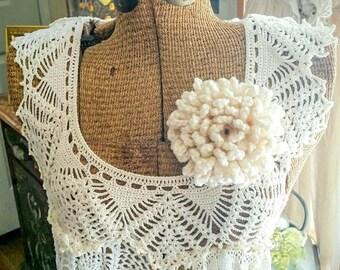 Made to Order: Loop Crochet Flower, Peony Crochet Flower, Shawl Pin, Crochet Brooch, Crochet Flower, Peony, Crochet Accessory, Cream,