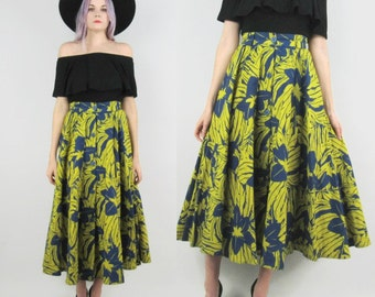 80s Bright Floral High Waisted Circle Skirt